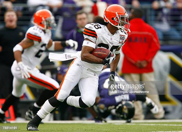 Cornerback Leigh Bodden of the Cleveland Browns runs back an interception against the Baltimore Ravens at M&T Bank Stadium on December 17, 2006 in...