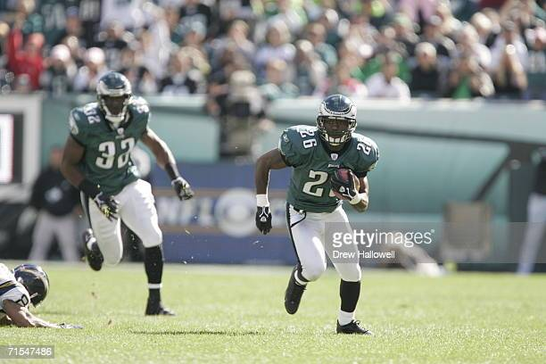Cornerback Lito Sheppard of the Philadelphia Eagles runs with the ball after an interception on October 23, 2005 at Lincoln Financial Field in...