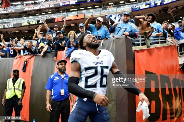Cornerback Logan Ryan of the Tennessee Titans celebrates after the Titans defeated the Cleveland Browns at FirstEnergy Stadium on September 08 2019...