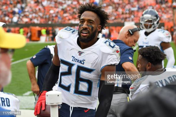 Cornerback Logan Ryan of the Tennessee Titans on the sideline in the fourth quarter of a game against the Cleveland Browns on September 8 2019 at...