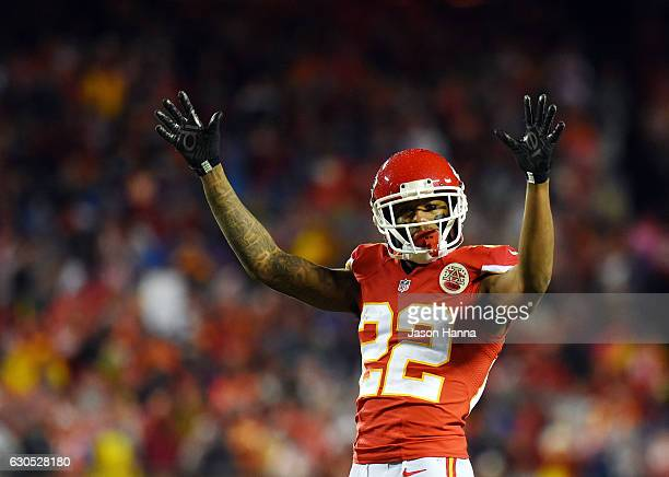 Cornerback Marcus Peters of the Kansas City Chiefs celebrates after a play during the game against the Denver Broncos at Arrowhead Stadium on...