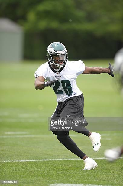 Cornerback Marlin Jackson of the Philadelphia Eagles drops back during practice on May 19 2010 at the NovaCare Complex in Philadelphia Pennsylvania