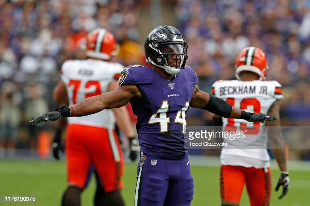 Cornerback Marlon Humphrey of the Baltimore Ravens reacts after a play during the second half against the Cleveland Browns at M&T Bank Stadium on...