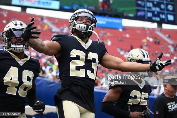 Cornerback Marshon Lattimore of the New Orleans Saints enters the stadium ahead of the game against the Los Angeles Rams at Los Angeles Memorial...