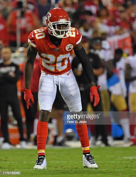 Cornerback Morris Claiborne of the Kansas City Chiefs gets set on defense, during the first half of a pre-season game against the San Francisco 49ers...