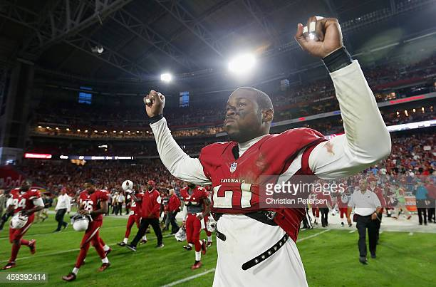 Cornerback Patrick Peterson of the Arizona Cardinals celebrates as he walks off the fiield after defeating the Detroit Lions 146 following the NFL...