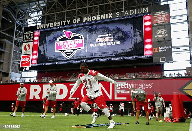 Cornerback Patrick Peterson of the Arizona Cardinals practices during the team training camp at University of Phoenix Stadium on August 1, 2015 in...