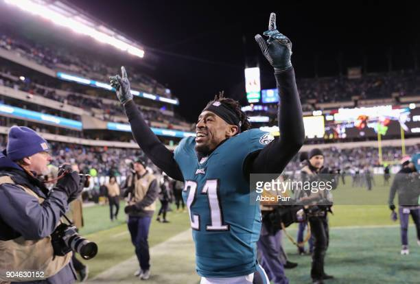 Cornerback Patrick Robinson of the Philadelphia Eagles celebrates as he walks off the field after their 1510 win over the Atlanta Falcons in the NFC...