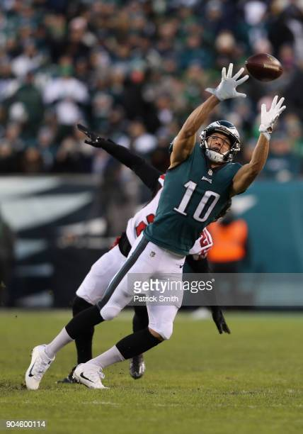 Cornerback Patrick Robinson of the Philadelphia Eagles goes for a catch against cornerback Desmond Trufant of the Atlanta Falcons during the first...