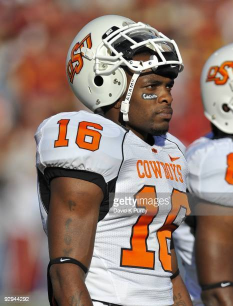 Cornerback Perrish Cox of the Oklahoma State Cowboys looks on during the game against the Iowa State Cyclones at Jack Trice Stadium on November 7,...