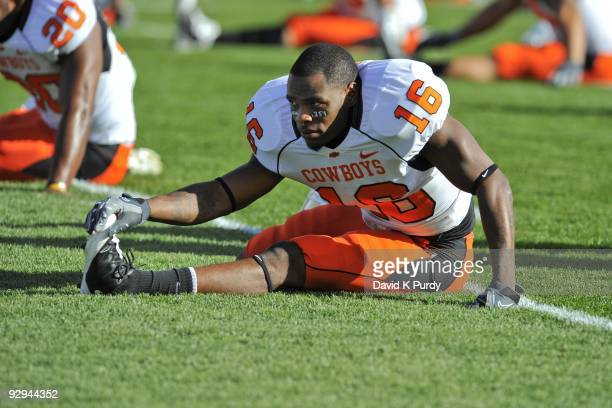 Cornerback Perrish Cox of the Oklahoma State Cowboys warms up before the game against the Iowa State Cyclones at Jack Trice Stadium on November 7,...