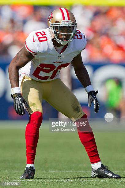 Cornerback Perrish Cox of the San Francisco 49ers in action during a preseason game against the Denver Broncos at Sports Authority Field Field at...