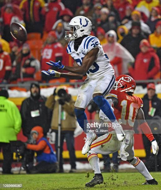 Cornerback Pierre Desir of the Indianapolis Colts intercepts a pass intended for wide receiver Tyreek Hill of the Kansas City Chiefs, during the...
