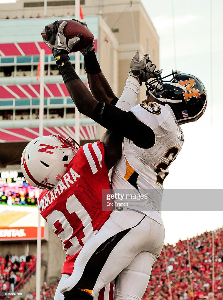 Cornerback Prince Amukamara #21 of the Nebraska Cornhuskers breaks up a intended for wide receiver L'Damian Washington #2 of the Missouri Tigers during second half action of their game at Memorial Stadium on October 30, 2010 in Lincoln, Nebraska. Nebraska Defeated Missouri 31-17.