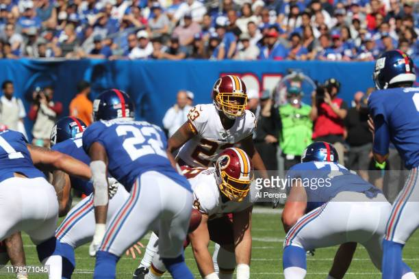 Cornerback Quinton Dunbar of the Washington Redskins follows the action against the New York Giants in the first half at MetLife Stadium on September...