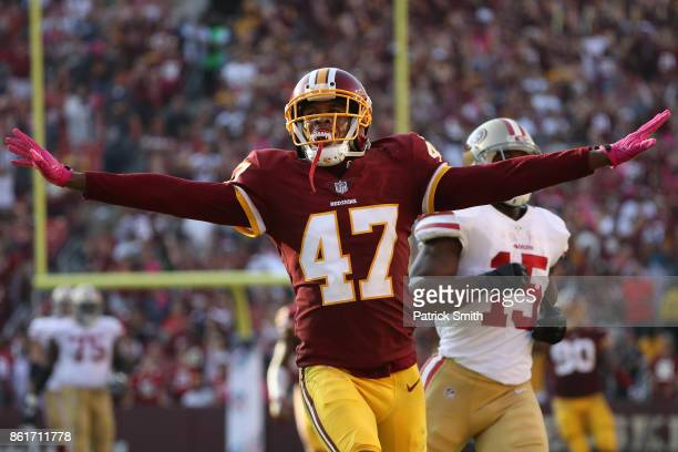Cornerback Quinton Dunbar of the Washington Redskins reacts after a play against the San Francisco 49ers during the fourth quarter at FedExField on...