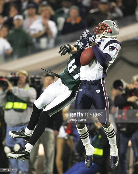 Cornerback Randall Gay of the New England Patriots knocks down a pass intended for wide receiver Todd Pinkston of the Philadelphia Eagles in the...