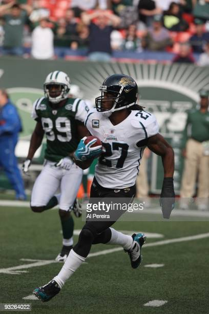 Cornerback Rasheen Mathis of the Jacksonville Jaguars has an Interception on the first play from scrimmage when the New York Jets host the...