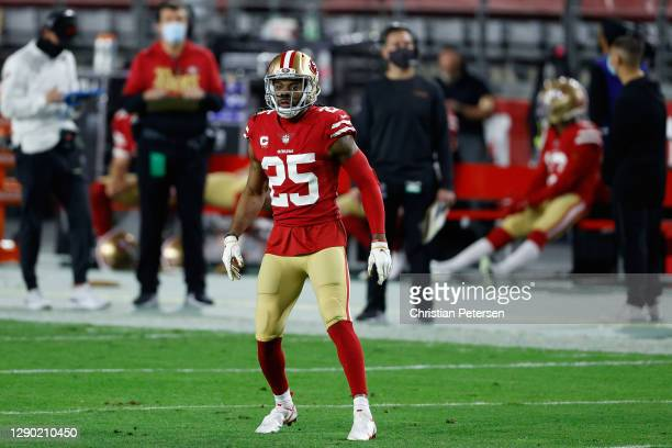 Cornerback Richard Sherman of the San Francisco 49ers during the NFL game against the Buffalo Bills at State Farm Stadium on December 07, 2020 in...