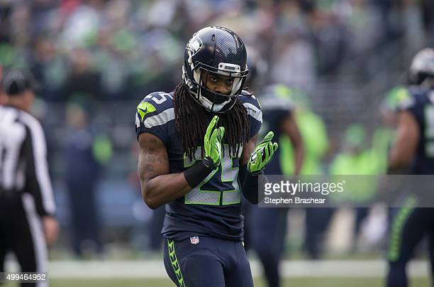 Cornerback Richard Sherman of the Seattle Seahawks claps during a football game against the Pittsburgh Steelers at CenturyLink Field on November 29...