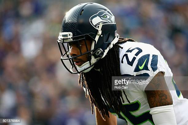 Cornerback Richard Sherman of the Seattle Seahawks lines up against the Baltimore Ravens in the first half at MT Bank Stadium on December 13 2015 in...
