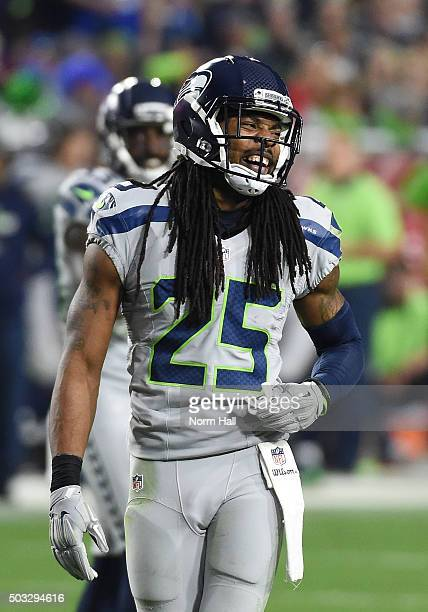 Cornerback Richard Sherman of the Seattle Seahawks reacts on the field during the NFL game against the Arizona Cardinals at University of Phoenix...