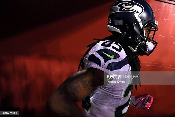 Cornerback Richard Sherman of the Seattle Seahawks walks in the tunnel before playing the Washington Redskins during at FedExField on October 6 2014...