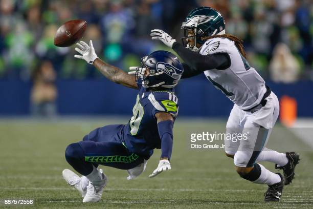 Cornerback Ronald Darby of the Philadelphia Eagles defends against wide receiver Paul Richardson of the Seattle Seahawks to cause an incomplete pass...