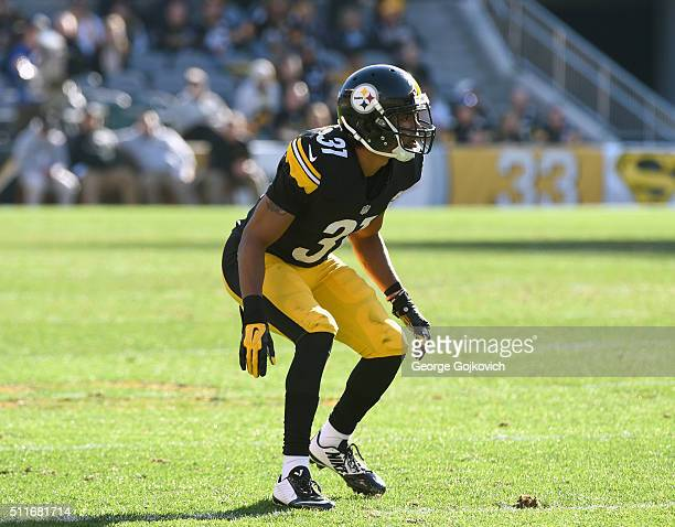 Cornerback Ross Cockrell of the Pittsburgh Steelers looks on from the field during a game against the Oakland Raiders at Heinz Field on November 8...