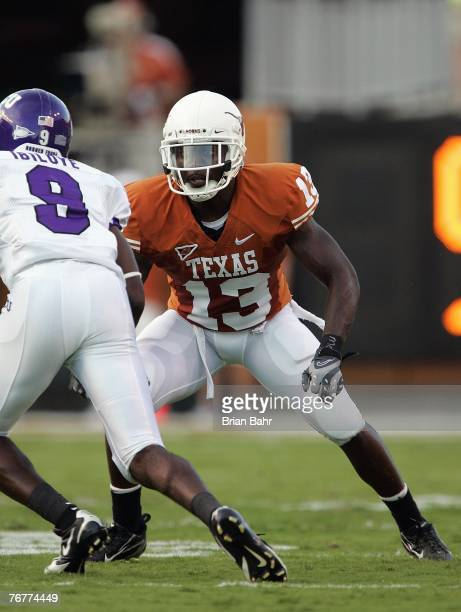 Cornerback Ryan Palmer of the Texas Longhorns lines up against Alex Ibiloye of the TCU Horned Frogs during their game on September 8 2007 at Darren K...