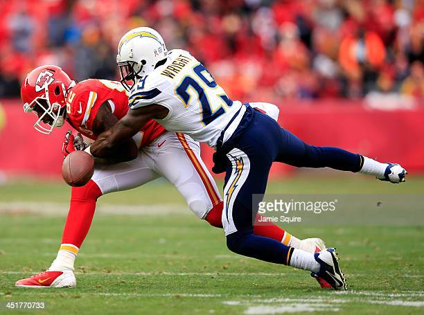Cornerback Shareece Wright of the San Diego Chargers breaks up a pass intended for wide receiver Dwayne Bowe of the Kansas City Chiefs during the...