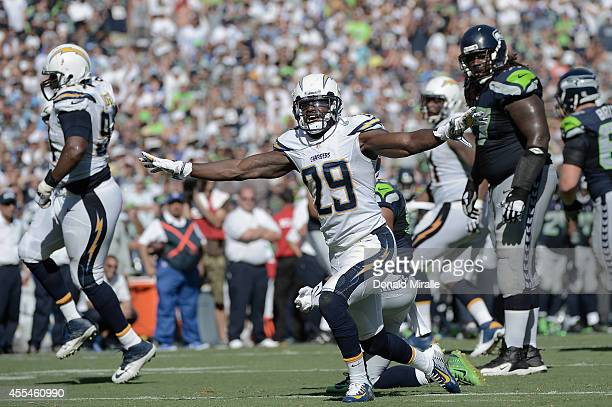 Cornerback Shareece Wright of the San Diego Chargers celebrates a defensive stop against the Seattle Seahawks at Qualcomm Stadium on September 14,...