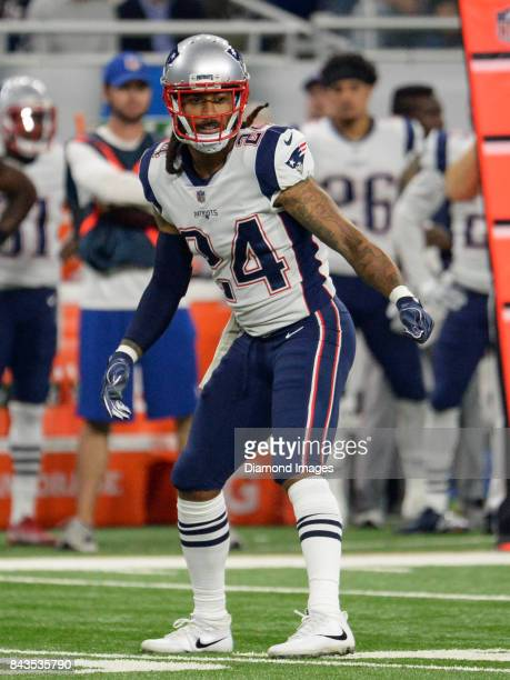 Cornerback Stephon Gilmore of the New England Patriots awaits the snap from his position in the first quarter of a preseason game on August 25 2017...