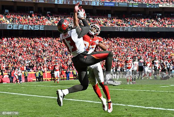 Cornerback Steven Nelson of the Kansas City Chiefs defends a pass against wide receiver Mike Evans of the Tampa Bay Buccaneers at Arrowhead Stadium...