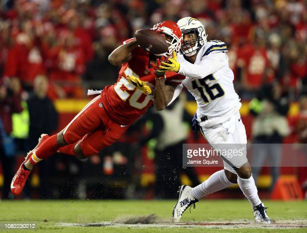 Cornerback Steven Nelson of the Kansas City Chiefs intercepts a pass intended for wide receiver Tyrell Williams of the Los Angeles Chargers during...