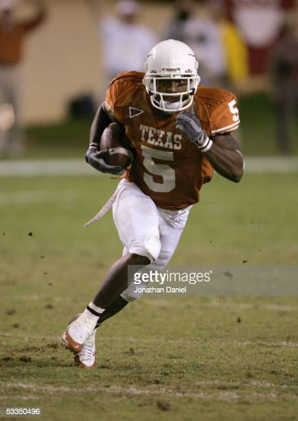 Cornerback Tarell Brown of the Texas Longhorns runs upfield against the Oklahoma State Cowboys during the game on November 06, 2004 at DKR Memorial...