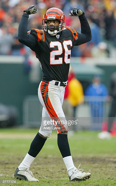Cornerback Tory James of the Cincinnati Bengals flexes his muscles during the game against the Kansas City Chiefs at Paul Brown Stadium on November...
