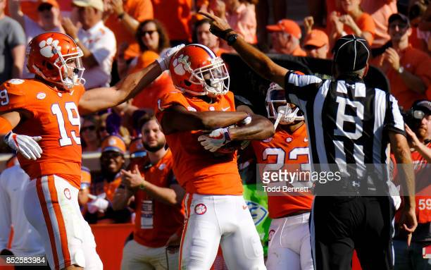 Cornerback Trayvon Mullen of the Clemson Tigers celebrates an interception against the Boston College Eagles at Memorial Stadium on September 23 2017...