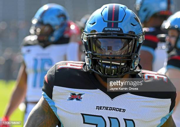 Cornerback Treston Decoud of the Dallas Renegades warms up before the game against the Los Angeles Wildcats at Dignity Health Sports Park on February...