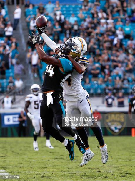 Cornerback Trevor Williams of the Los Angeles Chargers breaks up a pass for Wide Reveiver Keelan Coles of the Jacksonville Jaguars during the game at...