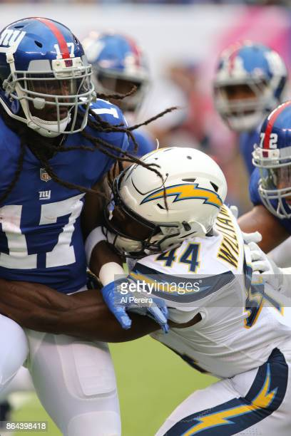 Cornerback Trevor Williams of the Los Angeles Chargers in action against the New York Giants during an NFL game at MetLife Stadium on October 8 2017...