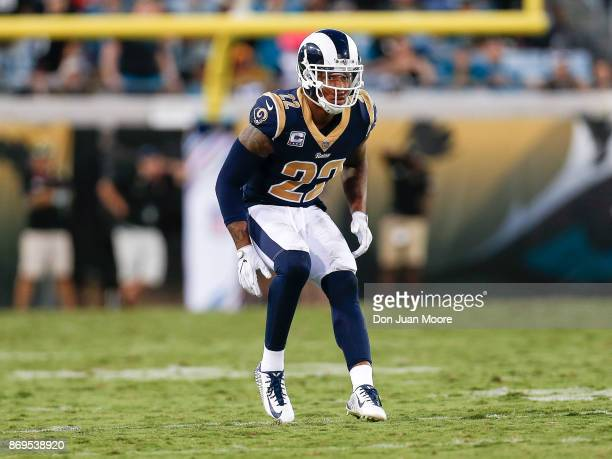 Cornerback Trumaine Johnson of the Los Angeles Rams during the game against the Jacksonville Jaguars at EverBank Field on October 15 2017 in...