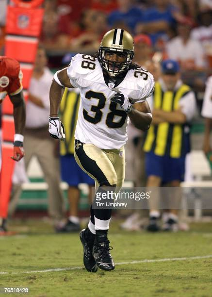 Cornerback Usama Young of the New Orleans Saints defends against the Kansas CIty Chiefs at Arrowhead Stadium on August 23 2007 in Kansas City...
