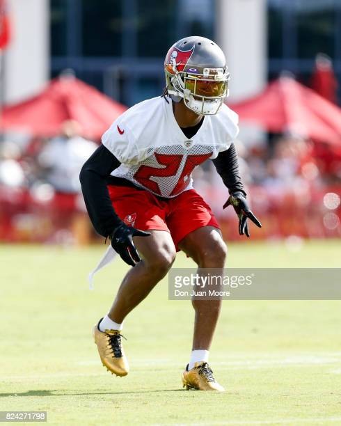 Cornerback Vernon Hargreaves of the Tampa Bay Buccaneers works out during Training Camp at One Buc Place on July 29 2017 in Tampa Florida