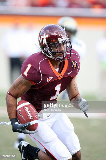 Cornerback Victor Macho Harris of the Virginia Tech University Hokies returns a punt against the College of William Mary Tribe on September 22 2007...