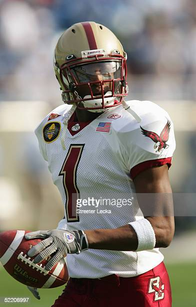 Cornerback Will Blackmon of the Boston College Golden Eagles warms-up for the Continental Tire Bowl against the University of North Carolina at...