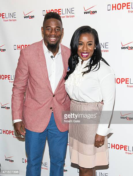 NFL cornerback William Gay and actress Uzo Aduba attend the HopeLine phone donation event supporting domestic violence prevention at Bryant Park...