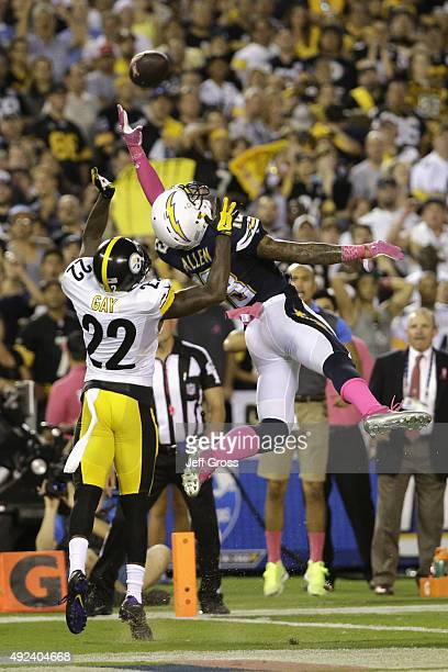 Cornerback William Gay of the Pittsburgh Steelers defends tight end David Johnson of the San Diego Chargers for an incomplete pass at Qualcomm...