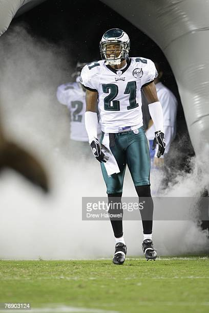 Cornerback William James of the Philadelphia Eagles enters the field before the game against the Washington Redskins on September 17, 2007 at Lincoln...