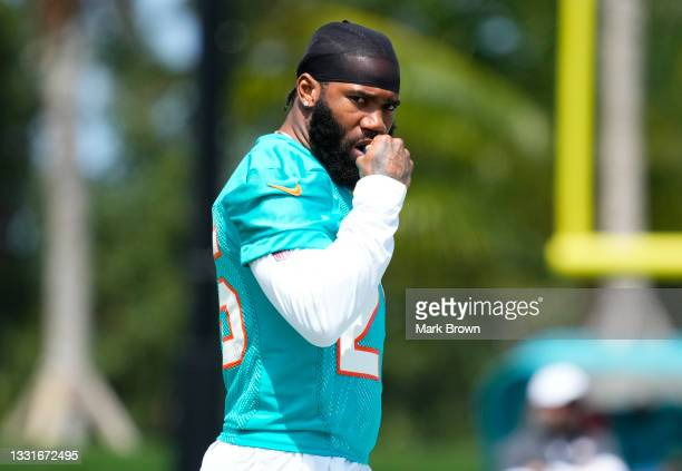 Cornerback Xavien Howard of the Miami Dolphins takes to the field during Training Camp at Baptist Health Training Complex on July 31, 2021 in Miami...